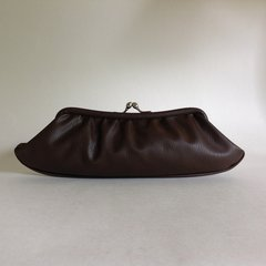 Brown 1950s Vintage Textured Faux Leather Clutch Bag Purse Satin Interior - A004