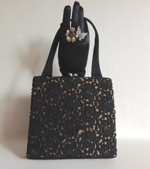 Waldybag 1950s Black Lace On Gold Fabric Vintage Handbag With Mottled Lining