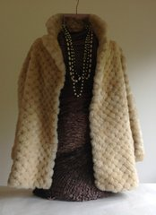 Vintage Golden Swallow Sheep Skin Diamond Patterned Coat Circa 1985