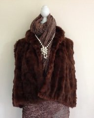 Thorpe & Crump Vintage 1930s Brown Squirrel Fur Short Evening Cape Vintage Bolero