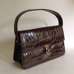Beautiful Chestnut Brown Faux Moc Croc 1940s   Vintage Handbag With Lovely Satin Fabric Lining