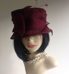 Walter Wright Hand Made Claret Wedding Church Dress Hat Designed By Peter Wright
