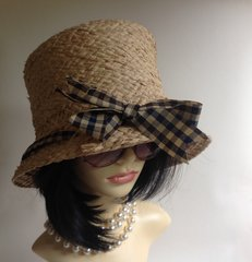 Natural Straw Ladies Summer Racing Dress Holiday Hat With Gingham Bow Detail