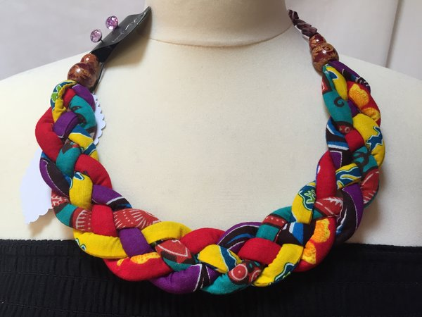 Unique multicoloured african wax print fabric and beads for How to make african jewelry crafts