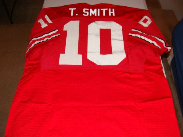 #10 TROY SMITH Ohio State Buckeyes NCAA QB Red Throwback Jersey