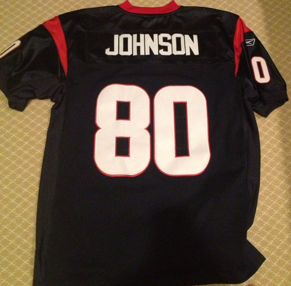 #80 ANDRE JOHNSON Houston Texans NFL WR Blue Throwback Jersey