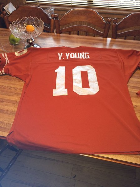#10 VINCE YOUNG Texas Longhorns NCAA QB Orange Rose Bowl Throwback Jersey