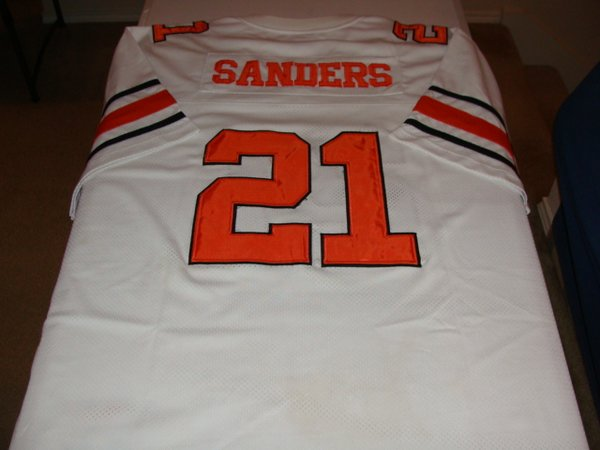 #21 BARRY SANDERS Oklahoma State Cowboys NCAA RB White Throwback Jersey