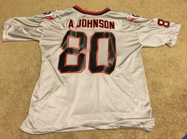 #80 ANDRE JOHNSON Houston Texans NFL WR Silver/Grey Throwback Jersey