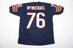 #76 STEVE McMICHAEL Chicago Bears NFL DT Blue Throwback Jersey