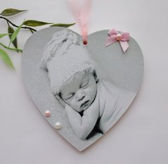 Wooden New Birth Personalised Photo Plaque