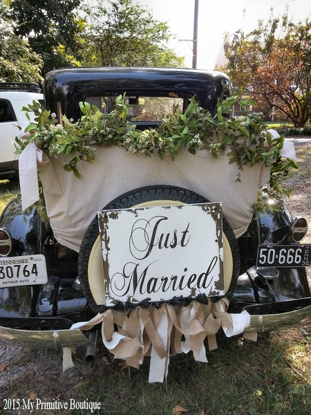 Just Married Sign Getaway Car Decoratons Wedding Signs