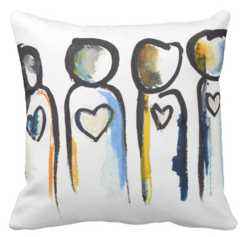 Heart People Throw Pillow