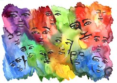 """With Love"" Colorful faces 11x15"" paper original watercolor"