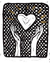 "5 x 7"" Original Linocut Heart and Hands Checker and Gold"