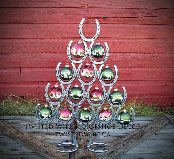Horseshoe christmas tree horseshoe christmas twisted for Christmas tree made out of horseshoes