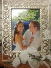 Wedding Frame White with Pearl Accent
