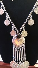 Jewelry Bohemian Gypsy Boho Silver Coin Tassel Pendant Necklace