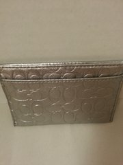 Coach Signature Slim Card Embossed Silver ID Card Case