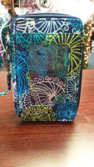 Quilted Wristlet Blue Green Tropical