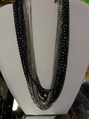 Jewelry Necklace 12 Strand Black & Silver
