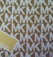 Michael Kors Cold Weather Scarf Beige and White