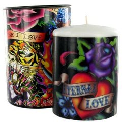 Ed Hardy Unscented Piller 3x4 Candle - Eternal Love