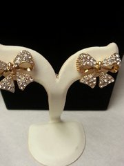 Wedding Earrings Gold Bow