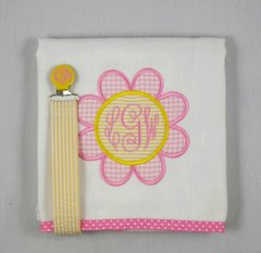 Applique daisy burp cloth, paci clip or set