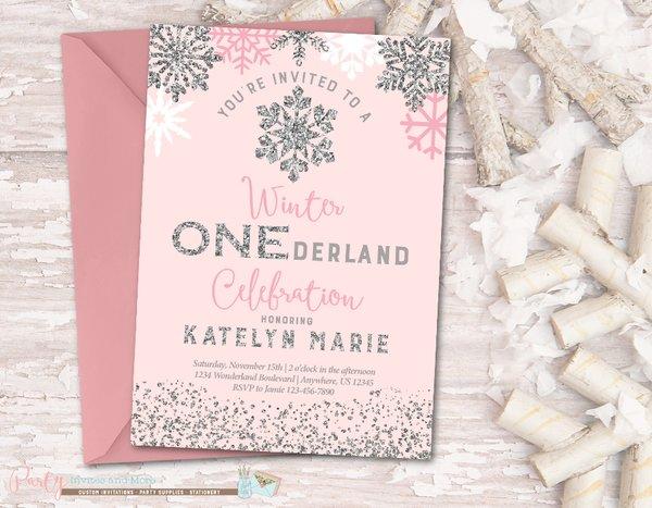 Winter Onederland Birthday Invitations wblqualcom