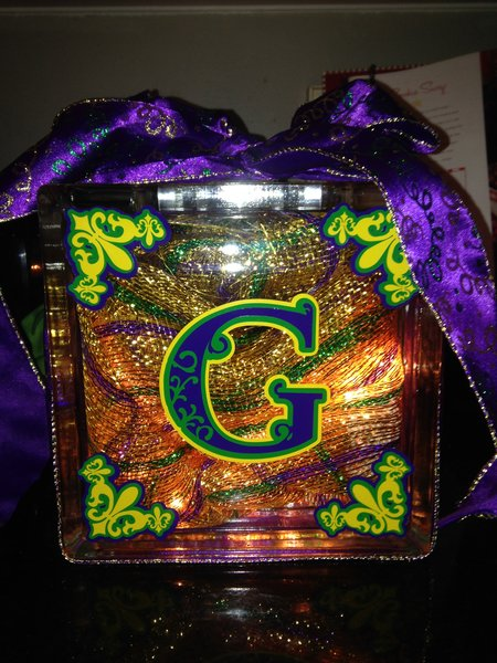 mardi gras glass block with lights