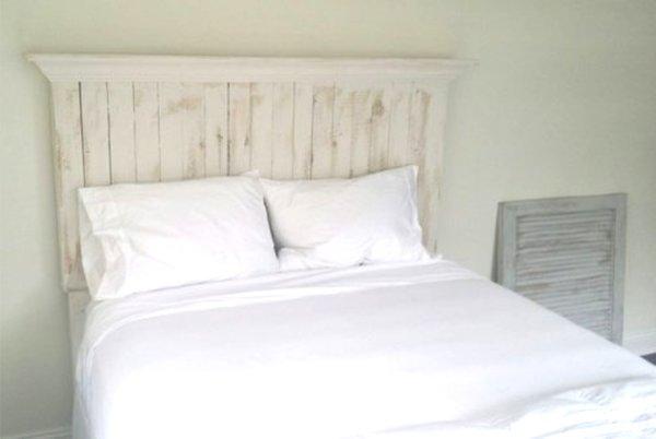 Pallet Wood Headboard With Crown Molding Shelf Vintage
