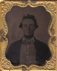 Civilian Gentleman with Patriotic Gutta-Percha Case Ninth Plate Tintype