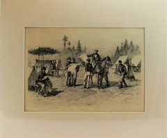 Edwin Forbes Plate No 28 Engraving Newspapers in Camp