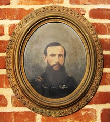 Oil On Artist Board Of Union 1st Lieutenant