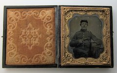 "Soldier with Model 1862 Colt ""Police"" Revolver Ambrotype"