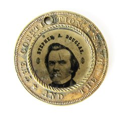 1860 Election Ferrotype Douglas vs. Johnson Pendant