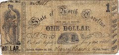 1861 State of North Carolina One Dollar Confederate Currency Note