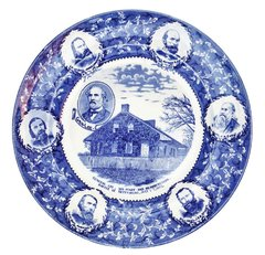Gettysburg Souvenir Plate Depicting General Lee, His Staff And Headquarters