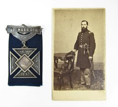 Solid Silver Corps Badge & CDV of Captain Eugene Temple Miles 53rd Mass Infantry