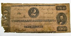 Confederate Currency Two Dollar Note