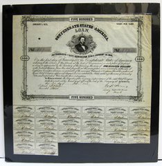 Confederate States of America Five Hundred Dollar Bond With Judah P. Benjamin