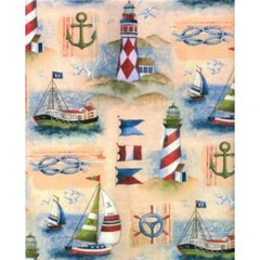 Boat & Lighthouse Heavy Embossed Gift Wrapping Paper - Two 6 Ft Sheet
