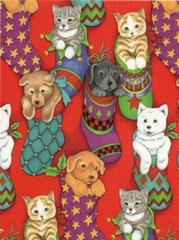Pet Stockings Heavy Christmas Gift Wrapping Paper - 6 Ft Sheet