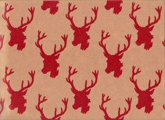 Deer Heads on Kraft Gift Wrapping - 30 Ft Roll