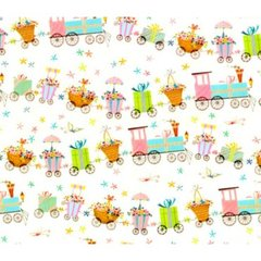 Choo Choo Train Baby Gift Wrapping Paper - 5 Ft Sheet