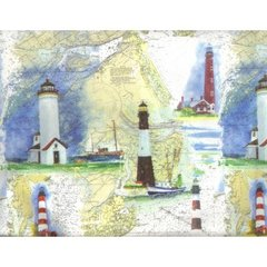 Lighthouses Heavy Embossed Gift Wrapping - Two 6 Ft Sheets