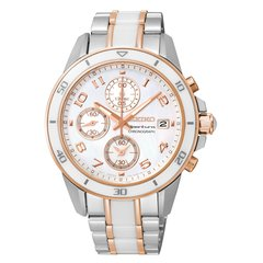 Seiko Sportura Ladies Chrono - Rose Gold-Tone Accents - Mother of Pearl