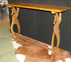 Sea's Grace Sea Horse Slab Console Table Spanish Lime