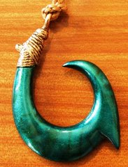 "Large Bronze Hawaiian Circle Fish Hook Pendant ""Abaco"""